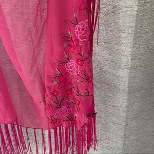 Pink Scarf with rose embellishments